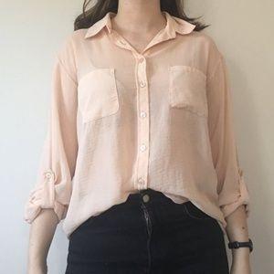 ASOS Pink Sheer Button Down